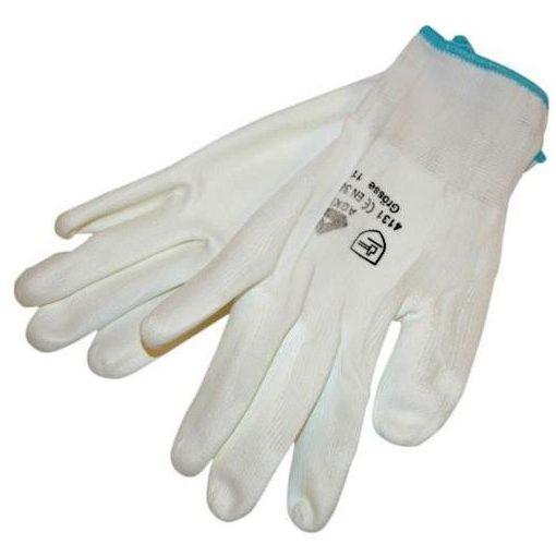 865103 Kötött kesztyű 1pár Fehér Nylon, XL-es méret 10' poliuretánba mártott tenyér és ujjhegy