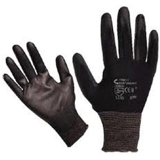 865108 Kötött kesztyű 1pár Fekete Nylon, XL-es méret 10' poliuretánba mártott tenyér és ujjhegy