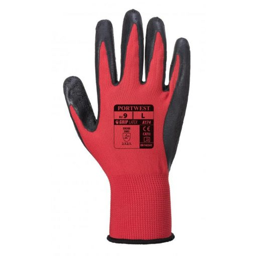 PORTWEST A174R8RXL FLEX GRIP Latex Glove-Piros-Fekete A174 XL 10-es