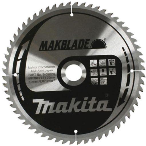 MAKITA B-09020 Körfűrészlap 260x30mm Z60